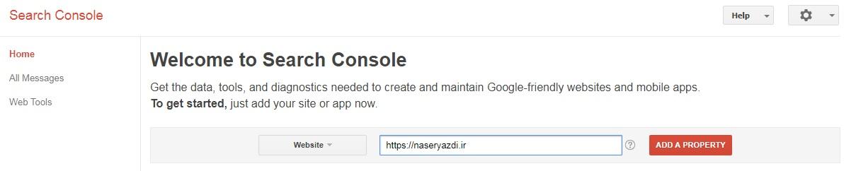 Google Search Console - Add Property | افزودن سایت به گوگل سرچ کنسول