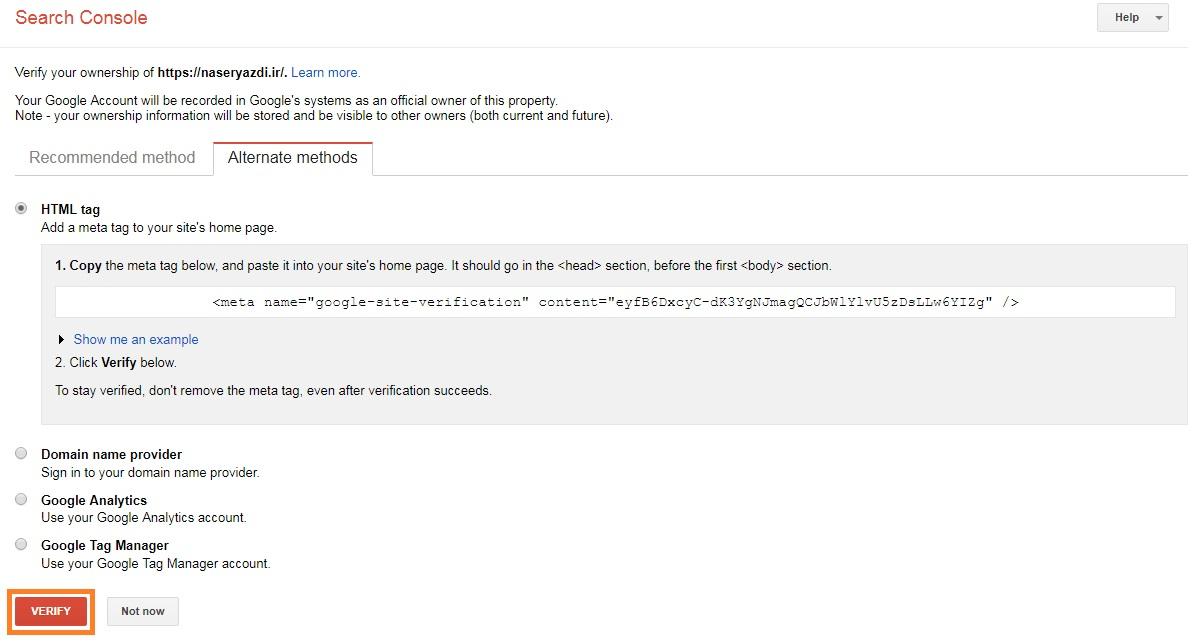 Google Search Console Verify HTML tag