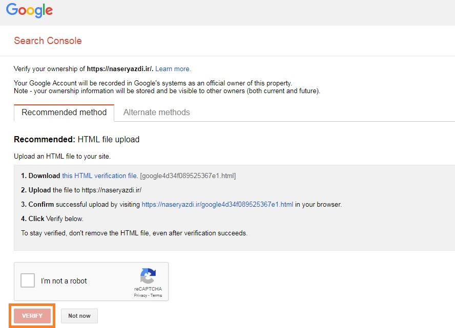 Google Search Console Verify HTML upload