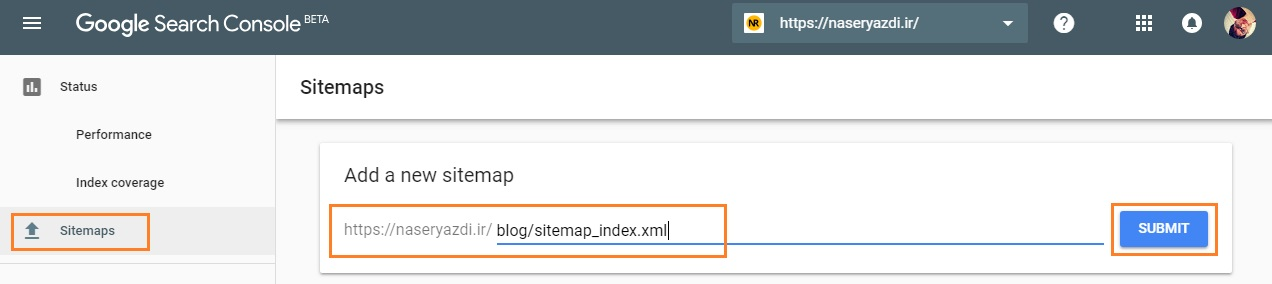 Google Search Console add sitemaps