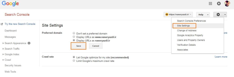 Google Search Console set Preferred domain