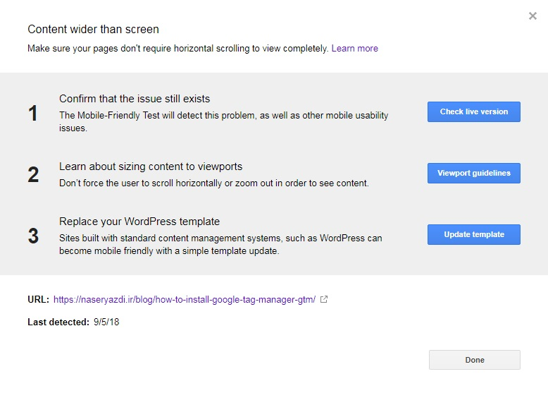 Mobile Usability details گوگل در این بخش به شما میگه چه جوری مشکل نمایش در موبایل رو حل کنید