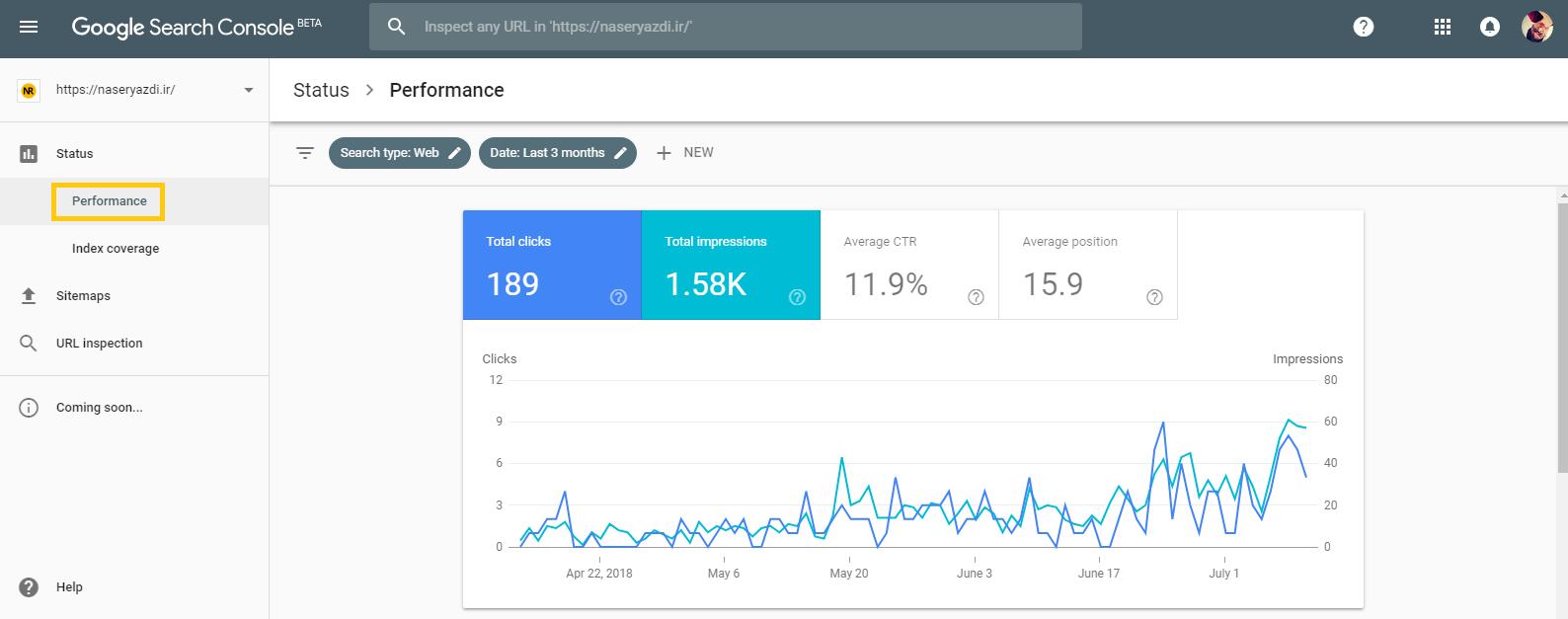 گزارش عملکرد در گوگل سرچ کنسول Performance Report