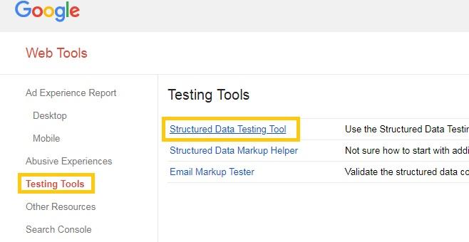 ابزار تست گوگل برای اسکیما Structured Data Testing Tool