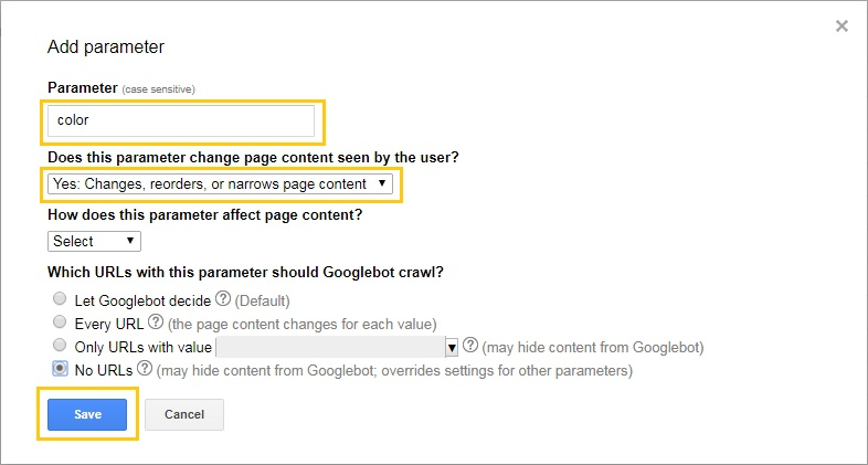 add parameters در گوگل سرچ کنسول که میتونی بهش یک لینک بدی که بگی دیگه این مدل لینکارو کرول نکنه