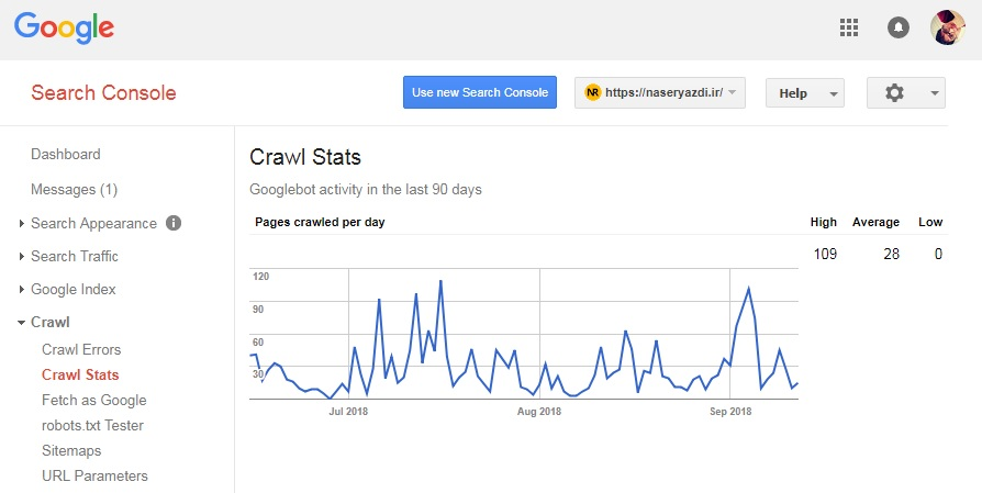 crawl stats در وبمستر تولز گوگل سرچ کنسول