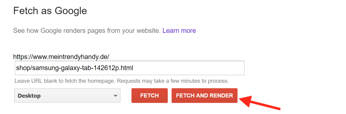 fetch and render as google