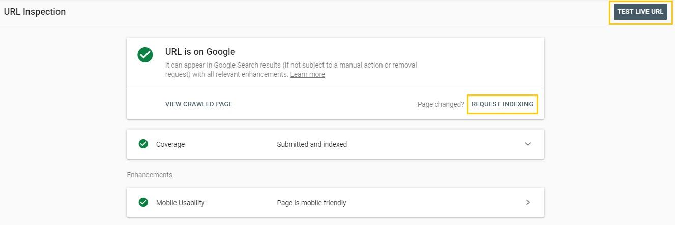 بررسی وضعیت ایندکس بودن یک صفحه با url inspection