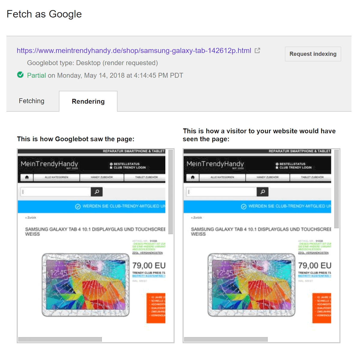 نمایش رندر شدن صفحه در گوگل