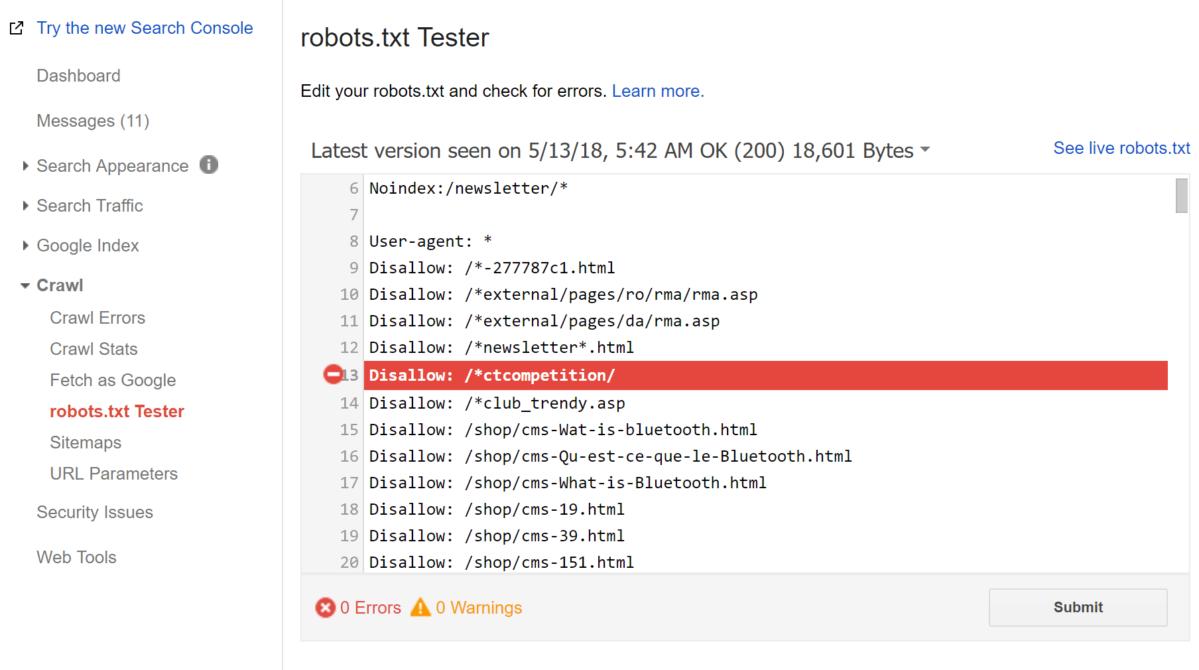 صفحه robots.txt Tester