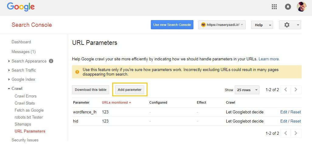 url parameters در وبمستر تولز که میتونی باهاش بگی که فلان url رو کرول نکنه