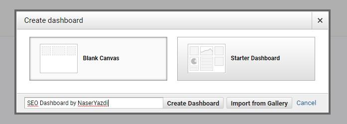 ساختن داشبورد و انتخاب گزینه Blank canvas و Starter dashboard